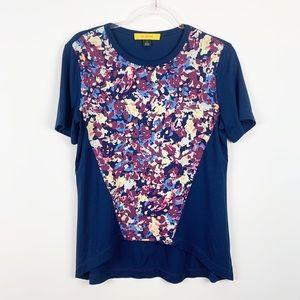 St. John Abstract Floral Print Crew Neck T-Shirt-M